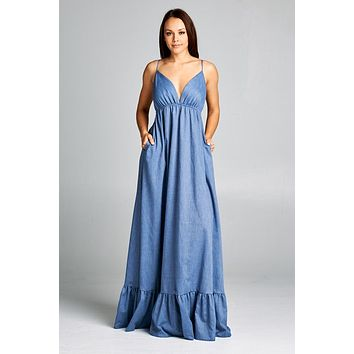 Denim Color Cotton Maxi Dress