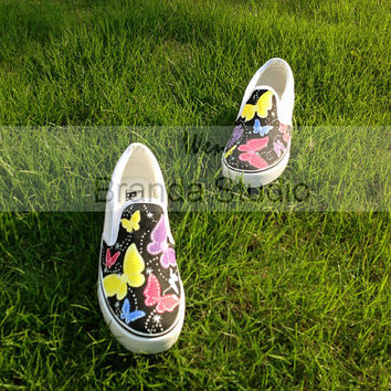 Christmas Gifts- Butterflies Studio Hand Painted Shoes Slip On Shoes,Sneakers,Custom Shoes,Canvas Shoes,Flat Shoes