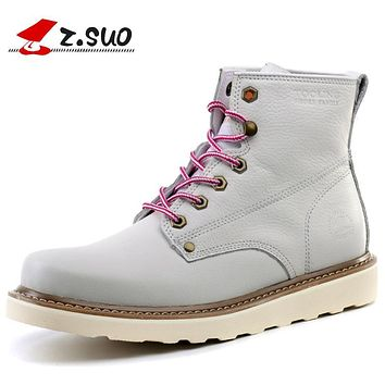 Z.SUO Men's Lace Up Ankle Boots 100% Full Grain Leather Upper Rubber Outsole Male Fashion Boots Leisure Casual Boots ZS16205
