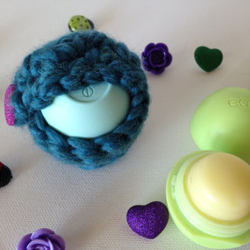 Teal EOS Lip Balm Cozy/Holder with Sparkly Pink Heart Button Closure and Split Ring/Lobster Clasp for Clip-On