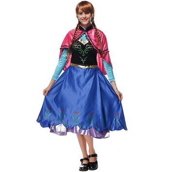 2018 New Anna Princess Cosplay Costume Adult Snow Grow Anna Elsa Clothing Fairy Tale Party Dress Costume for Halloween Women