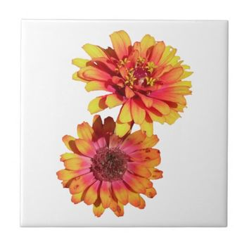 Zinnia Flowers Ceramic Tile