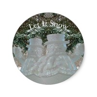 Let It Snow Waving Snowmen Classic Round Sticker
