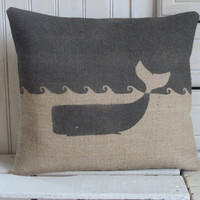 "Whale Hand Printed Charcoal Hessian Cushion 14"" x 16"""