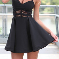 Black Spaghetti Strap Cut Out Mini Dress