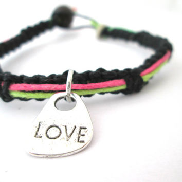 Love Bracelet Neon and Black Hemp Bracelet