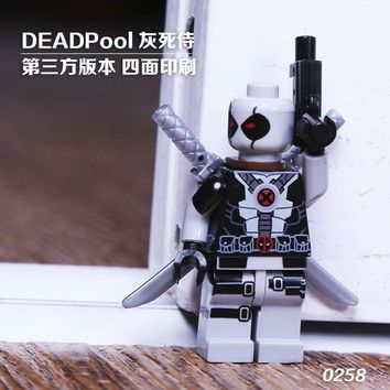 Deadpool Dead pool Taco Single Sale Super Heroes X-Man Custom MOC Gery  With s Model Building Blocks Bricks Children Gift Toys 0258 AT_70_6