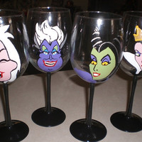 Set of 4 Hand-Painted Tulip Wine Glasses-Disney Villainesses (Evil Queen, Ursula, Cruella DeVil, Maleficent)
