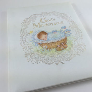 Vintage Baby Album First Seven Years Keepsake Book Unused 1970s Baby Scrapbook Baby Shower Gift Religious Baby Book God's Masterpiece