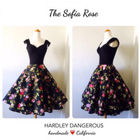 Black Rose ROCKABILLY Swing Dress, 1950s Style Capped Sleeve Floral Print Dress, Full Circle Skirt, Retro Bridesmaid Casual Wedding