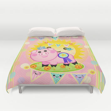 Pink Prize Pig Pennant Children's Art Duvet Cover by Cool Cat Creative