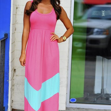 HOPE'S: Chevron Maxi Dress: Pink/Mint | Hope's