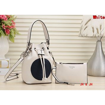 FENDI Newest Fashionable Women Shopping Bag Leather Handbag Tote Wrist Bag Two Piece Set White