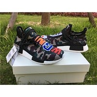 ADIDAS X BAPE PW HUMAN RACE NMD_R1 BB0623 BOOST COLORFUL Running shoes for Women & Men Size: 36