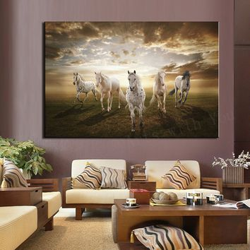 Home Decor Landscape Horses Painting Modern Art Picture Print on Canvas Unframed Painting Wall Art Best Gift