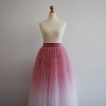 Gradient Ballerina : hand dyed ombre tulle skirt  / adult tutu / ladies tulle skirt / bridesmaid / custom dyed skirt / gradient skirt