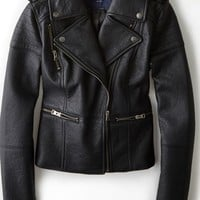 AEO Women's Quilted Vegan Leather Moto Jacket (True Black)