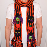 Halloween Scarf  Halloween Crochet Witch and Black Cat