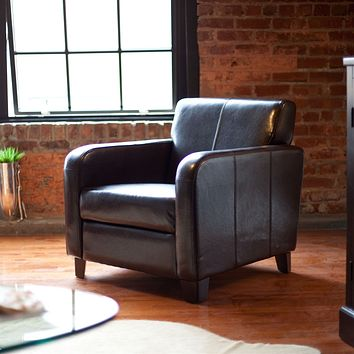 Dark Brown Leather Upholstered Club Chair with Wood Frame & Legs