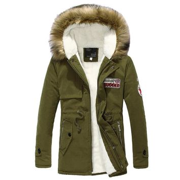 Men's thick warm winter Parkas fur collar army green men parka big yards long cotton coat jacket parka men