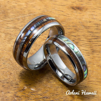 Tungsten Abalone Wedding Band Set with Mother of Pearl Abalone and Koa Wood Inlay (6mm - 8mm Width)