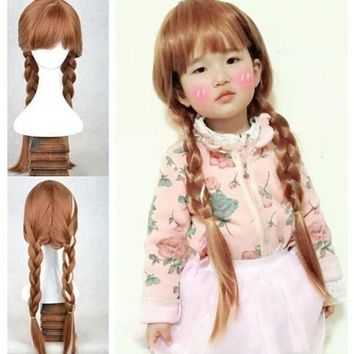 ONETOW Girl's Snow Princess Anna Brown Braids Girl Party Children Froze Anna Wig Party Fancy costume