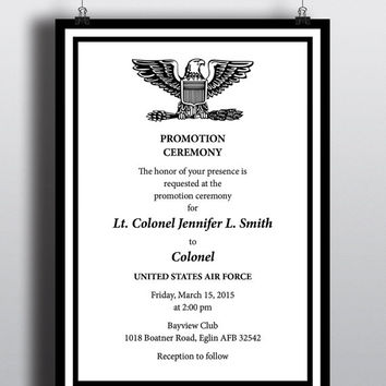 Military Black White Promotion Recognition Elegant Professional Patriotic Invitation United States Air Force Navy Marines Army Coast Guard