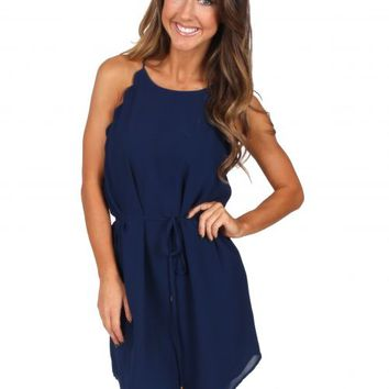Keep Your Head Up Navy Scallop Dress | Monday Dress Boutique