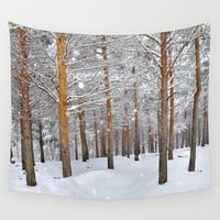 """""""Into the deep forest. Snowing"""" Wall Tapestry by Guido Montañés"""