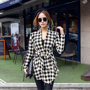 Women sweaters Houndstooth Cardigan Cotton