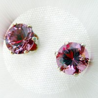 Color Changing Stone Pink to Green Gemstone Zandrite Stud Earrings