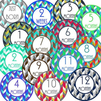 14 Herringbone Baby Boy Geometric Monthly Milestone Onesuit Stickers Newborn Shower Gift