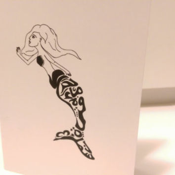 Mermaid Ariel Card Arabic Calligraphy Original any occasion set (blank inside, folded card)
