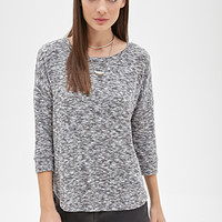FOREVER 21 Marled Drop-Sleeve Sweater Heather Grey