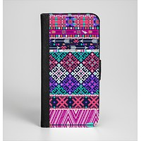 The Pink & Teal Modern Colored Aztec Pattern Ink-Fuzed Leather Folding Wallet Case for the iPhone 6/6s, 6/6s Plus, 5/5s and 5c