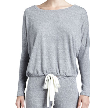 Slouchy Drawstring Tee, Gray Heather, Size: