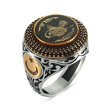 Ottoman sultan sign calligraphy with black and red enamel 925k sterling silver mens ring