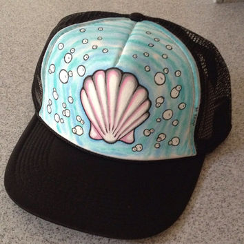 Handpainted Shell Trucker Hat