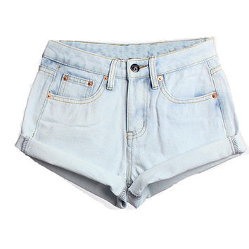 Light Blue Turn-up High Waist Denim Shorts
