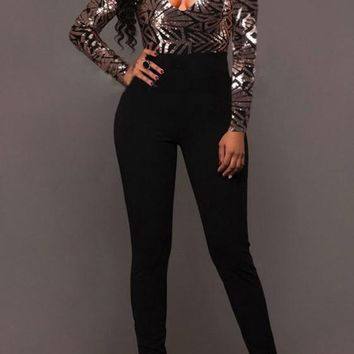 Black Sequin Patchwork Plunging Neckline Long Sleeve Fashion Jumpsuit
