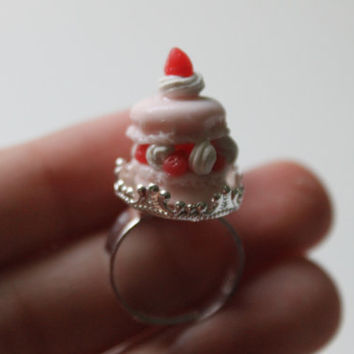 Pink Strawberry Macaron Ring; Adjustable; Polymer Clay; Miniature Food; Food Jewelry; Fake Food