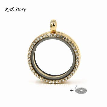 30mm Crystal KC Gold Circle Living Memory Locket For Floating Charms with Chain LFL_086