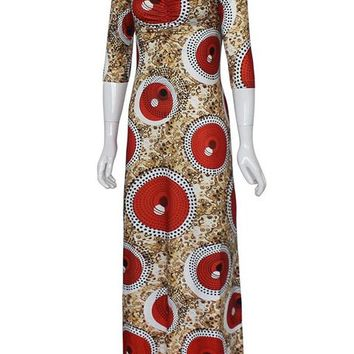 A| Chicloth Plus Size Red Blue Women'S Maxi Dress