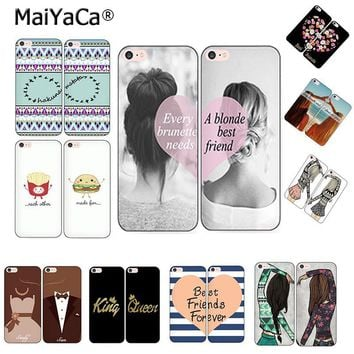 Trendy MaiYaCa Best Friends BFF two girls Couple each other phone shell king queen Phone Case For iPhone 5s 6s 7 8plus x xs max xr case AT_94_13