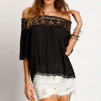 Womens Chiffon Shirts Hollow Out Lace Patchwork Top Off Shoulder Blouses +Free Gift -Random Necklace 116