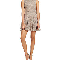 B. Darlin Sequin Lace Skater Dress - Taupe/Silver
