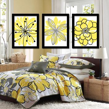 Yellow Black Wall Art, Bedroom Pictures, CANVAS or Prints Bathroom Decor, Bedroom Pictures, Flower Wall Art, Flower Burst Dahlia Set of 3
