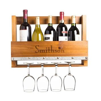 Personalized Rustic Wall Mounted Wine Rack