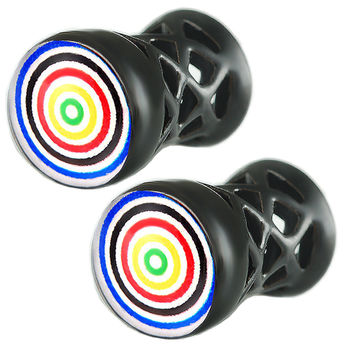Target Logo Double-Flared Plug [Gauge: 2G - 6mm] Alloy (Black) // Set of 2
