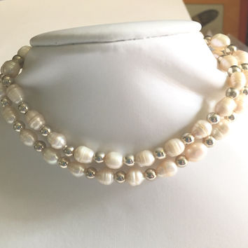 "22.5"" Freshwater Pearl necklace with Sterling Silver, toggle clasp"